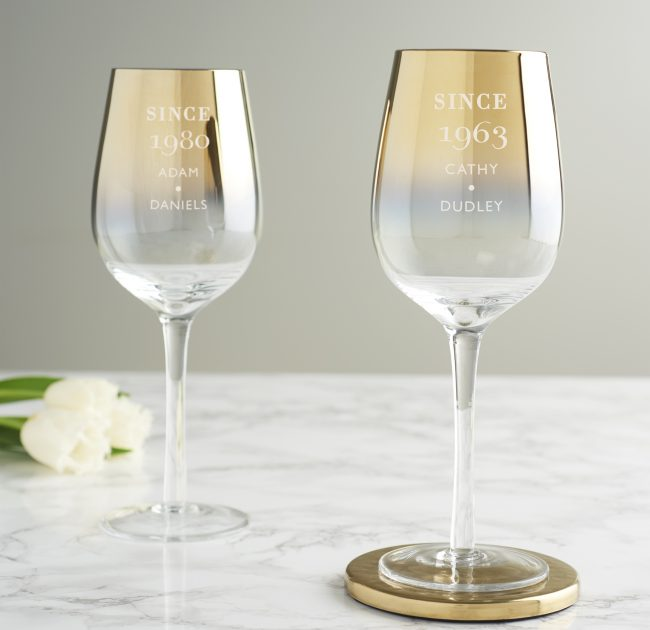 Personalised Since Birthday Gold Wine Glass