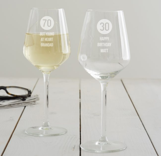 Personalised Special Age Wine Glass For Him