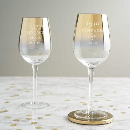 Personalised Vintage Birthday Gold Wine Glass