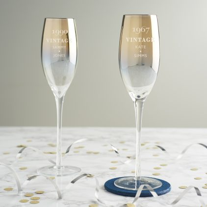 Personalised 'Vintage' Birthday Metallic Champagne Flute