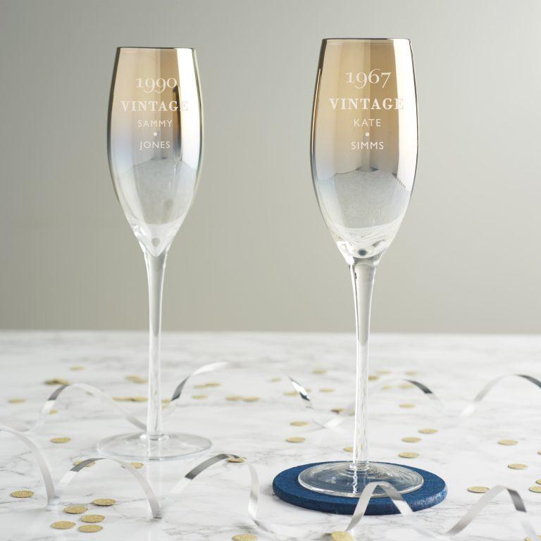 Personalised 'Vintage' Birthday Metallic Champagne Flute
