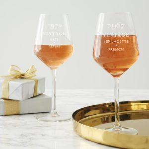 Personalised Vintage Birthday Wine Glass