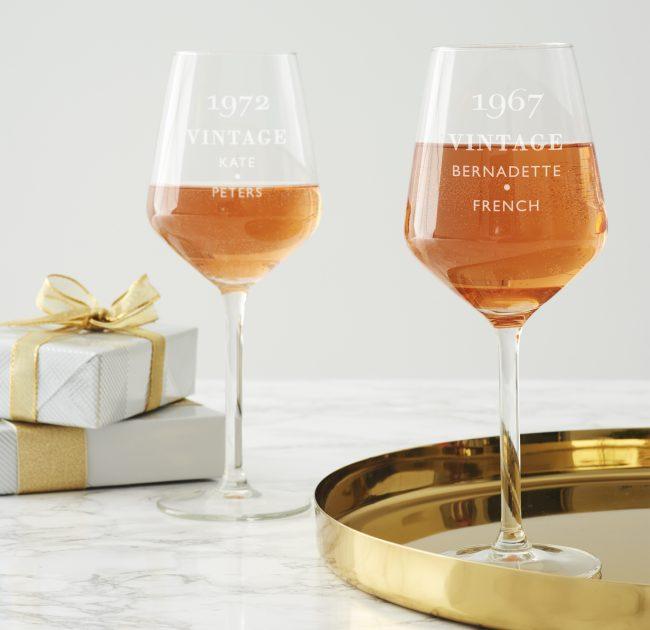 Personalised Vintage Birthday Wine Glass