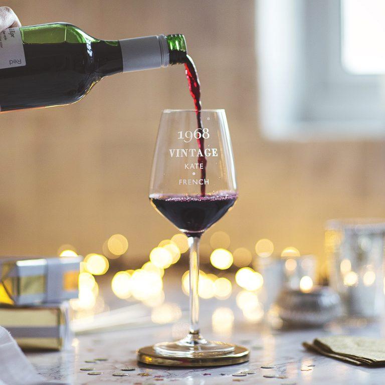 Personalised 'Vintage' Birthday Wine Glass Lifestyle