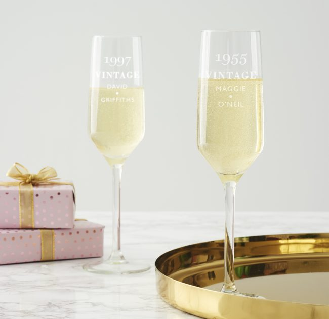 Personlised Vintage Birthday Champagne Flute
