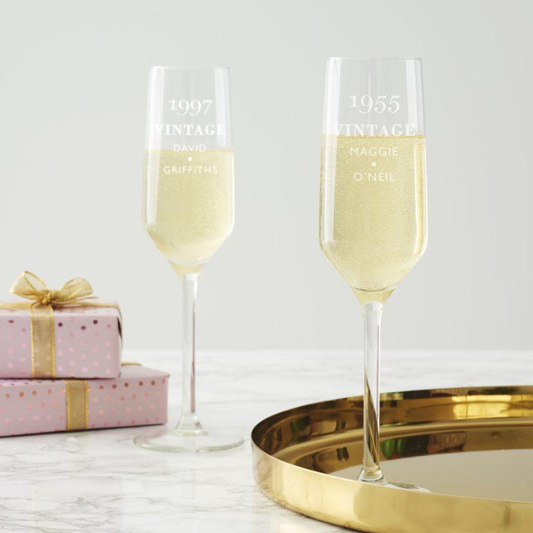 Personlised Vintage Birthday Champagne Flute