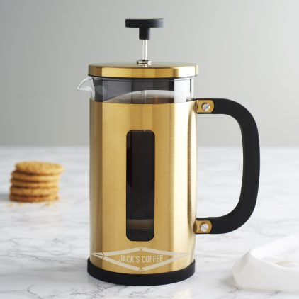 Personalised Faceted Gold Cafetiere