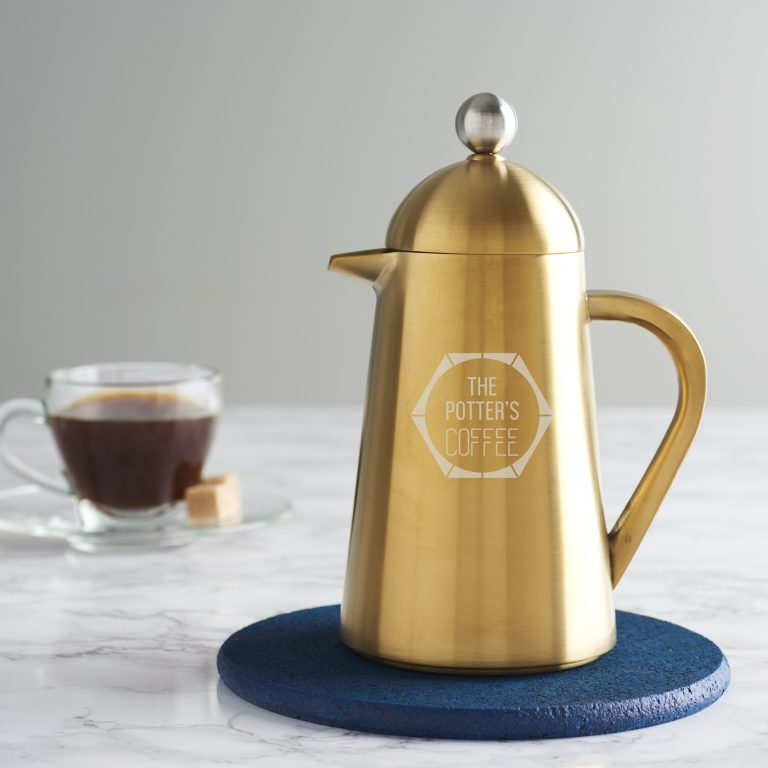 Personalised Faceted Gold Coffee Pot