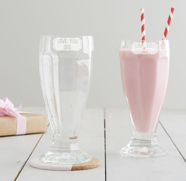 Love You 365 Milkshake Glass