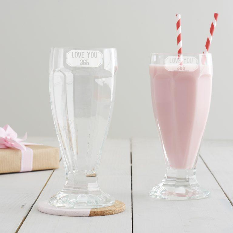 Love You 365 Milkshake Glass