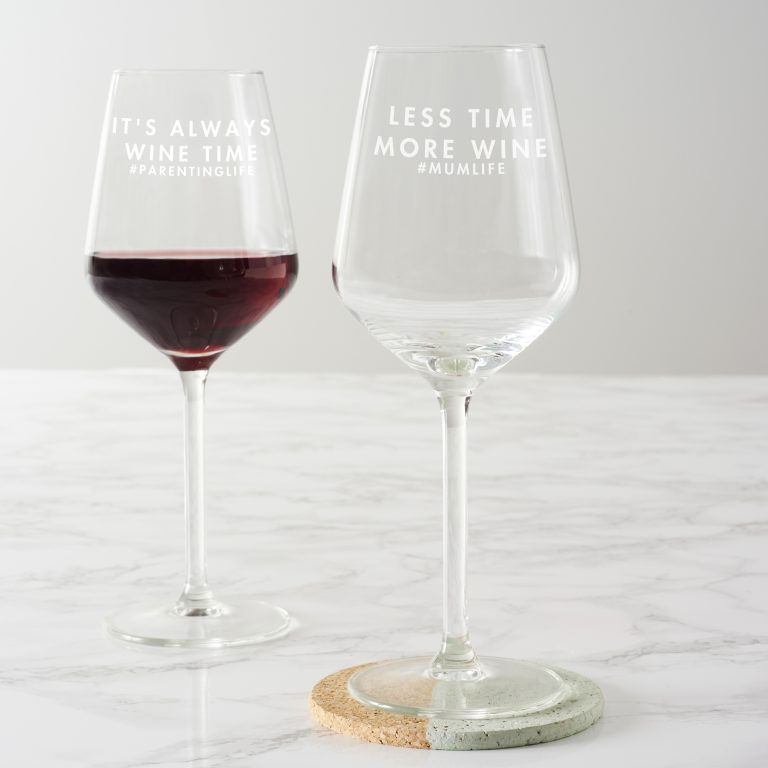 Personalised 'Less Time, More Wine' Wine Glass Amended