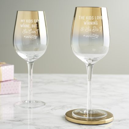 Personalised 'Wine Time' Gold Wine Glass for Parents