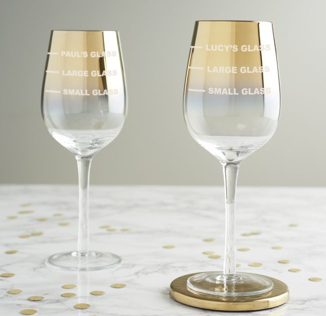 Personalised Drinks Measure Gold Wine Glass