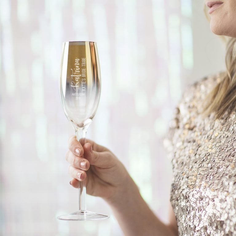 Pers. Hen Party Metallic Champagne Flute
