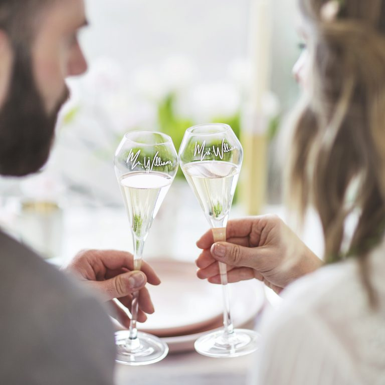 Personalised Tulip Champagne Flute Set For Couples Lifestyle