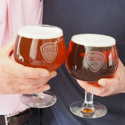 Personalised Father & Son Belgian Beer Glass Set