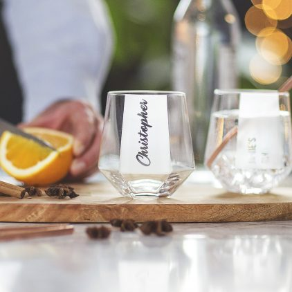 Personalised Hexagonal Tumbler Glass Lifestyle