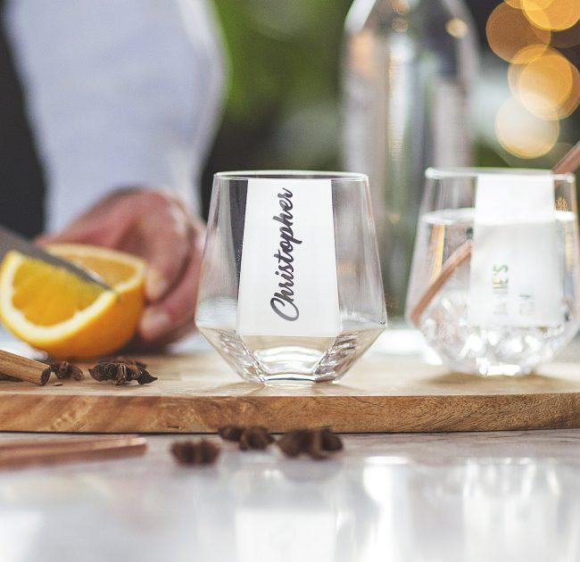 Personalised Hexagonal Tumbler Glass Lifestyle