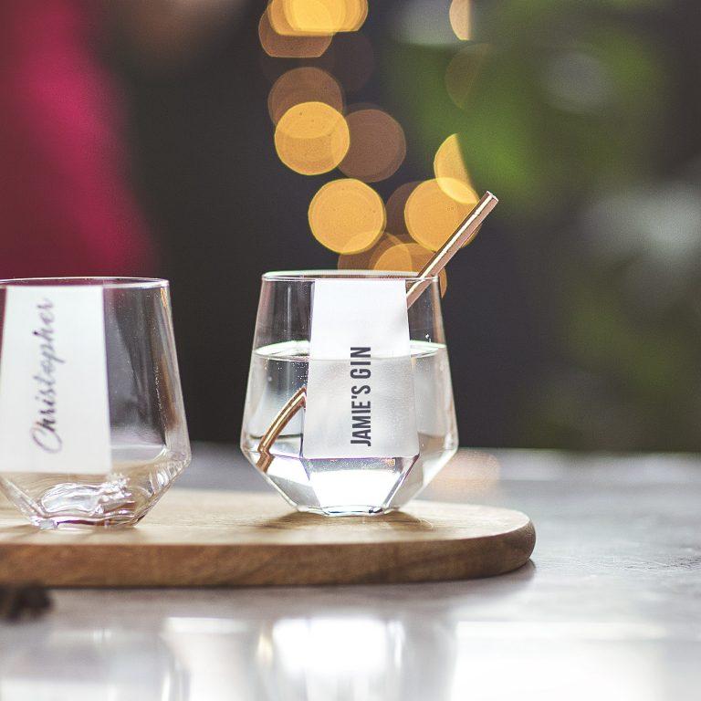 Personalised Hexagonal Tumbler Glass Lifestyle Font Option 1 Single Line Text