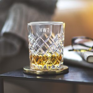 Personalised Monogram Cut Glass Tumbler Amended