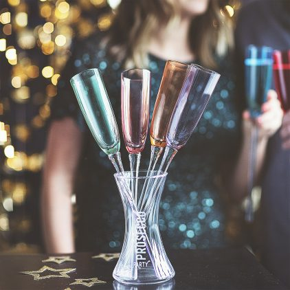 Personalised Coloured Champagne Flute Set Lifestyle