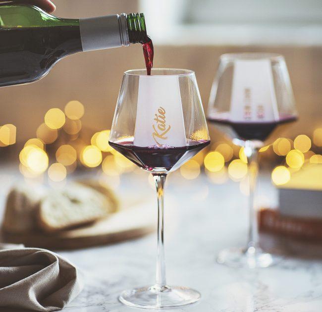 Personalised Hexagonal Wine Glass Lifestyle 1