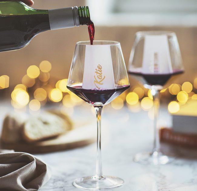 Personalised Hexagonal Wine Glass Lifestyle 1 Single text line