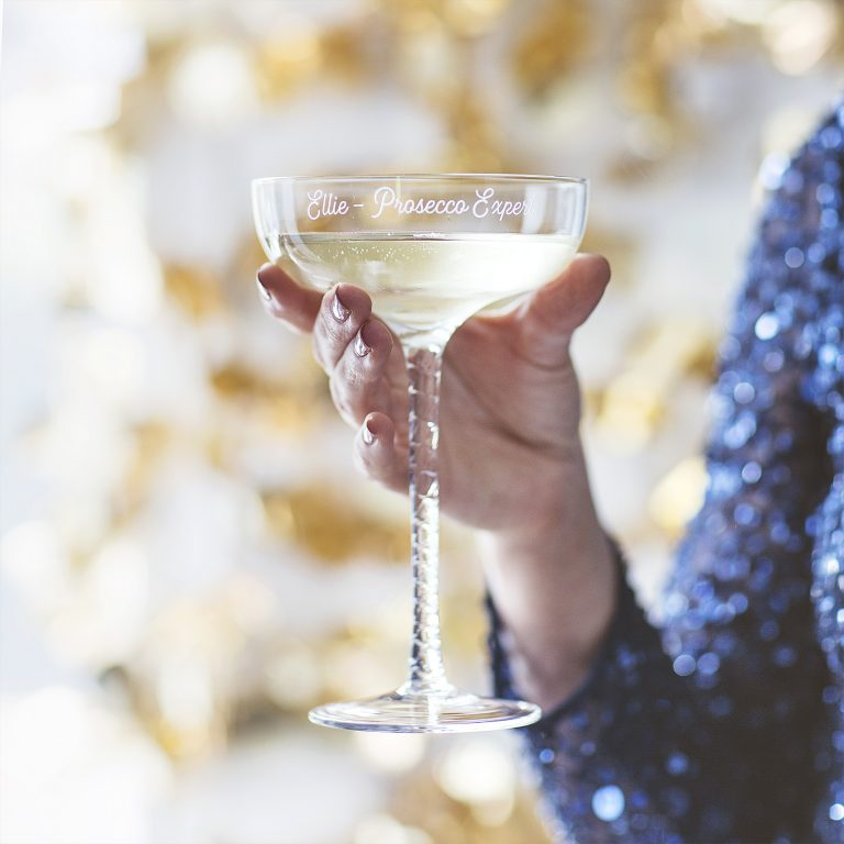 Personalised Swirl Stem Champagne Saucer Lifestyle