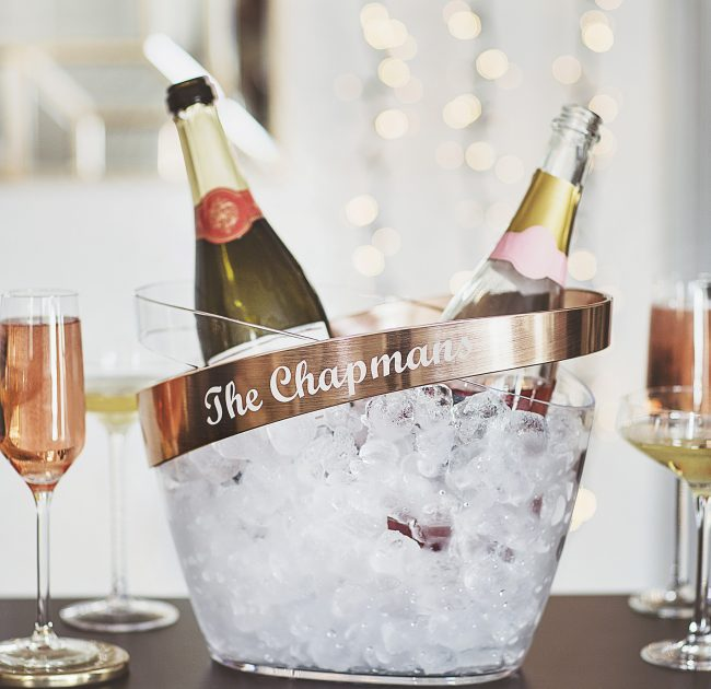Personalised Copper Banded Champagne Bucket Lifestyle