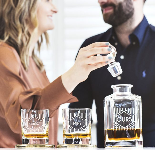 Personalised Couples Decanter And Glass Set Lifestyle