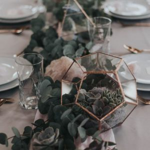 Pink Geometric and Green Table Centerpiece