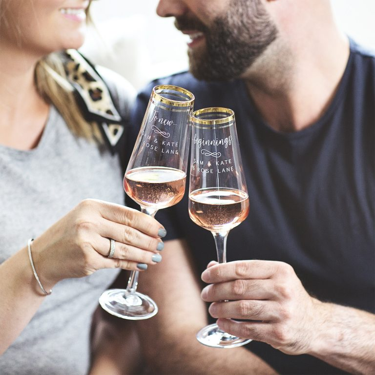 Personalised Celebration Gold Banded Champagne Flute Set Lifestyle