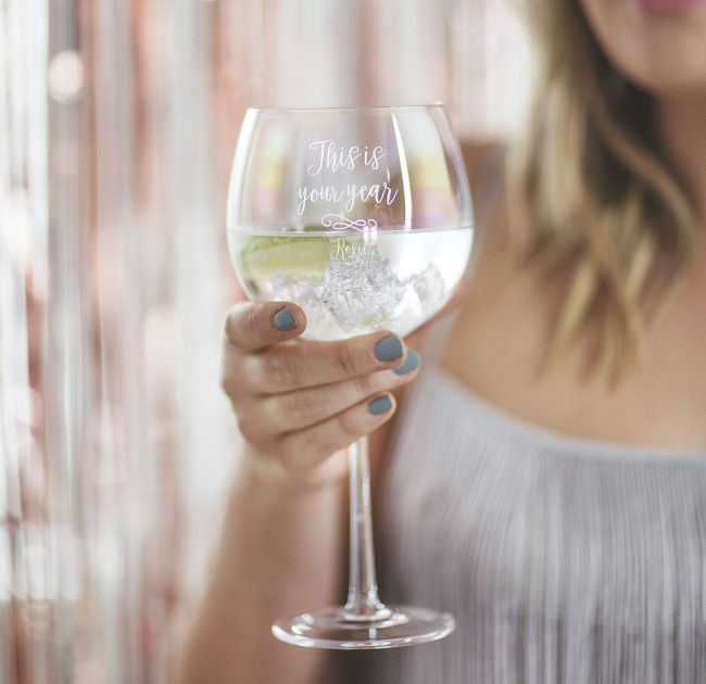Personalised Iridescent Goblet Glass Lifestyle