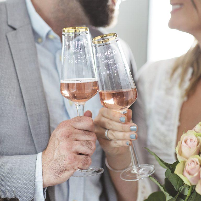 Personalised Wedding Gold Banded Champagne Flute Set Lifestyle