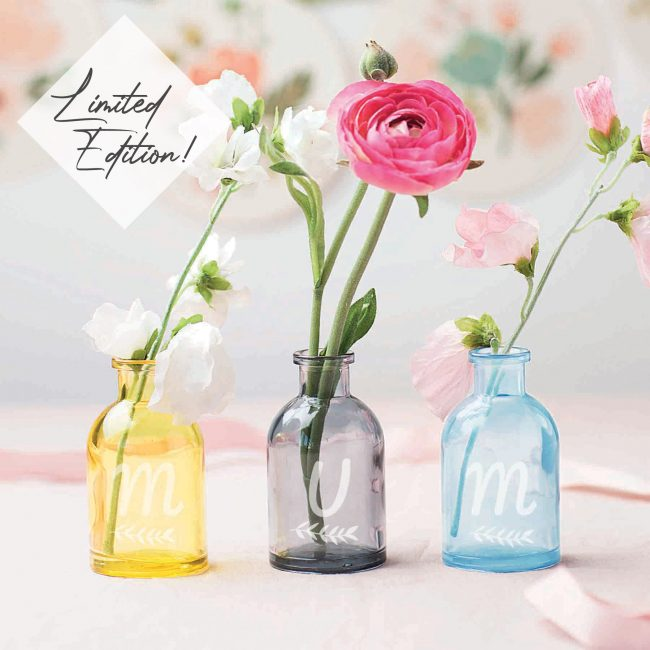 Limited Edition Personalised 'Mum' Coloured Bottle Bud Vases