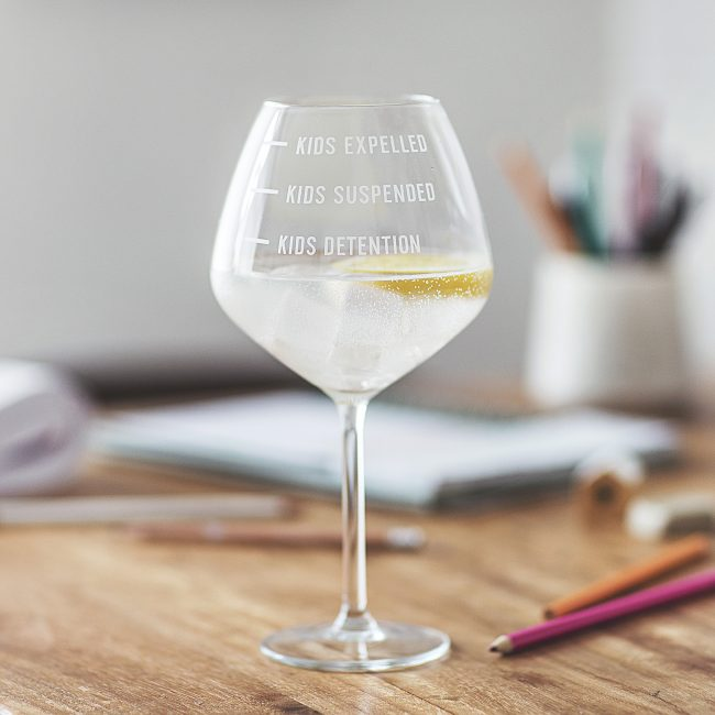 Personalised Home Schooling Measures Gin Glass