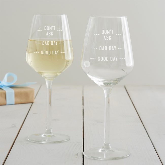 'Good Day' Measures Wine Glass