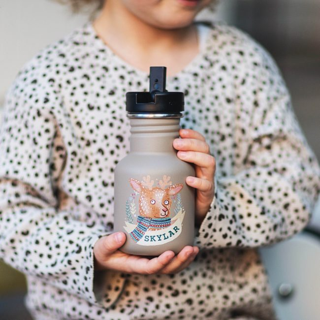 Personalised Animal Illustration Water Bottle For Kids Option