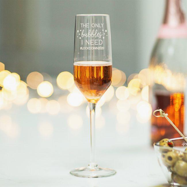 Personalised Covid Bubble Champagne Flute EDIT