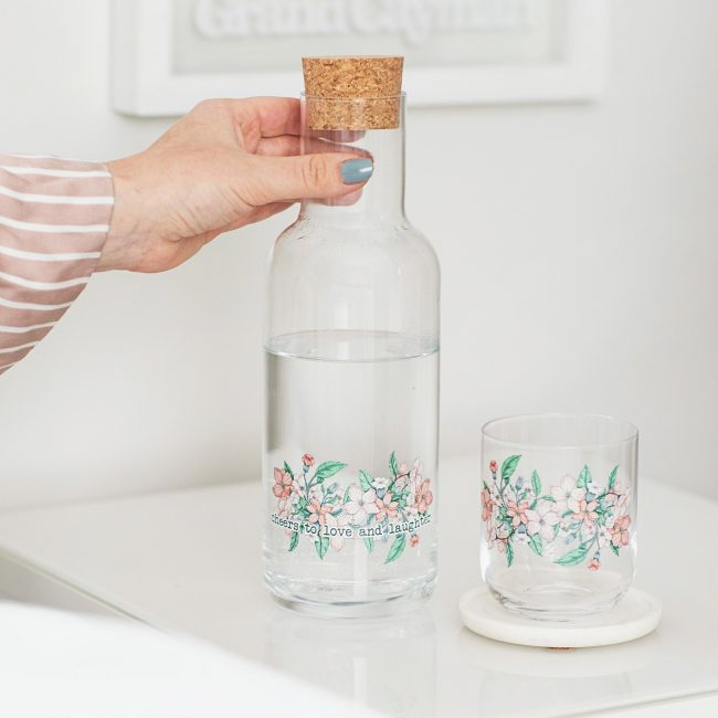 Personalised Floral Carafe And Glass Set