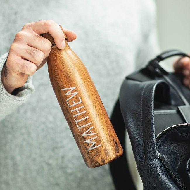 Personalised Wood Effect Water Bottle