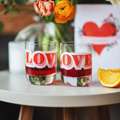 Personalised 'Love' Slogan Glass