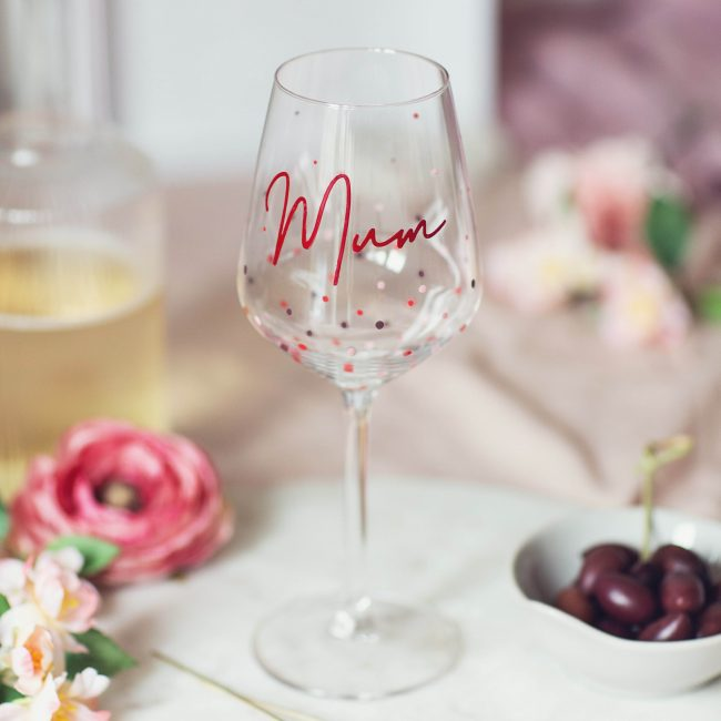 Hand Painted Wine Glass For Mum