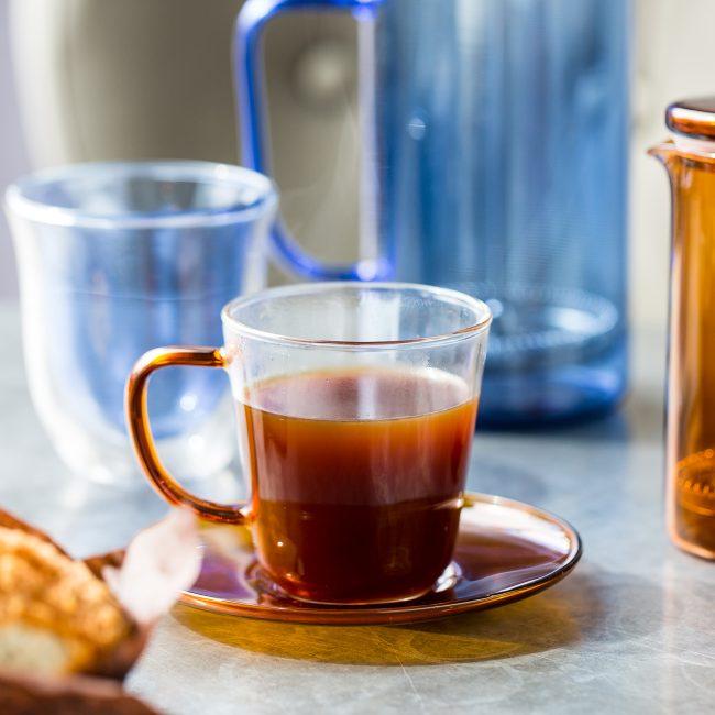 Coloured Glass Teacup & Saucer