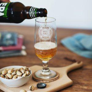 Personalised Best Dad Stemmed Beer Glass